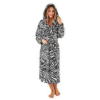 Slenderella GL8740 Frauen Zebramuster schwarzes Robe Langarm Morgenmantel