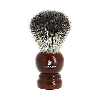 Vie-Long Badger Brush and Stand Deep Red