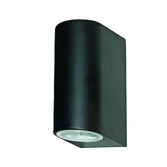 Black Dual LED Outdoor Wall Light Fixture - Searchlight 8008-2BK-LED