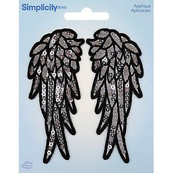 Wrights Sequin Iron-On Appliques 2/Pkg-Angel Wing 193 2034
