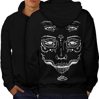 Face Stylish Cool Men BlackHoodie Back | Wellcoda