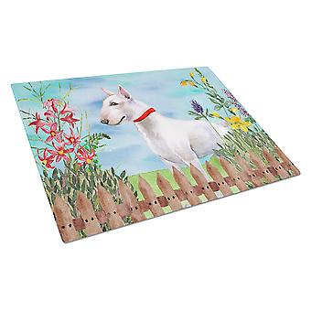 Carolines Treasures  CK1255LCB Bull Terrier Spring Glass Cutting Board Large
