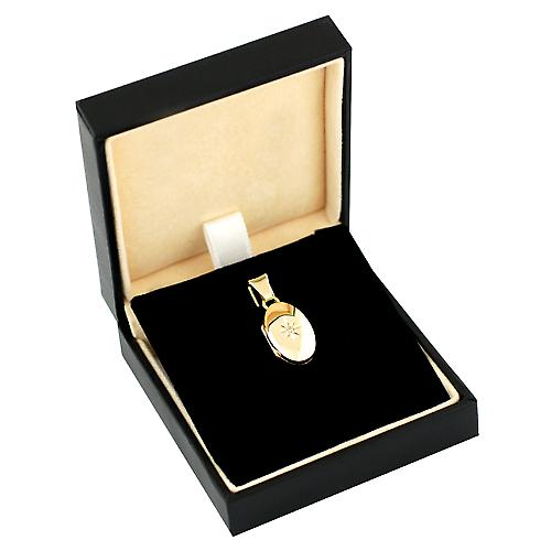 9ct Gold 18x11mm diamond set oval Locket