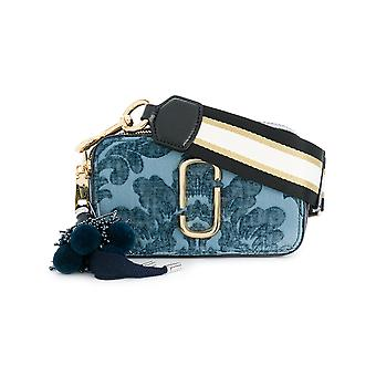 Marc Jacobs women's M0013275400 Blau coarse linen shoulder bag