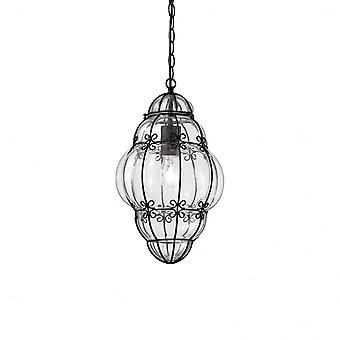 Ideal Lux Anfora Italian Small Ceiling Lantern Pendant, Clear Glass
