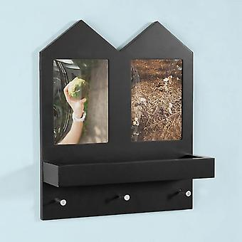 SoBuy Wall Shelf with 2 Picture Photo Frames and 3 Hooks,FHK02-SCH