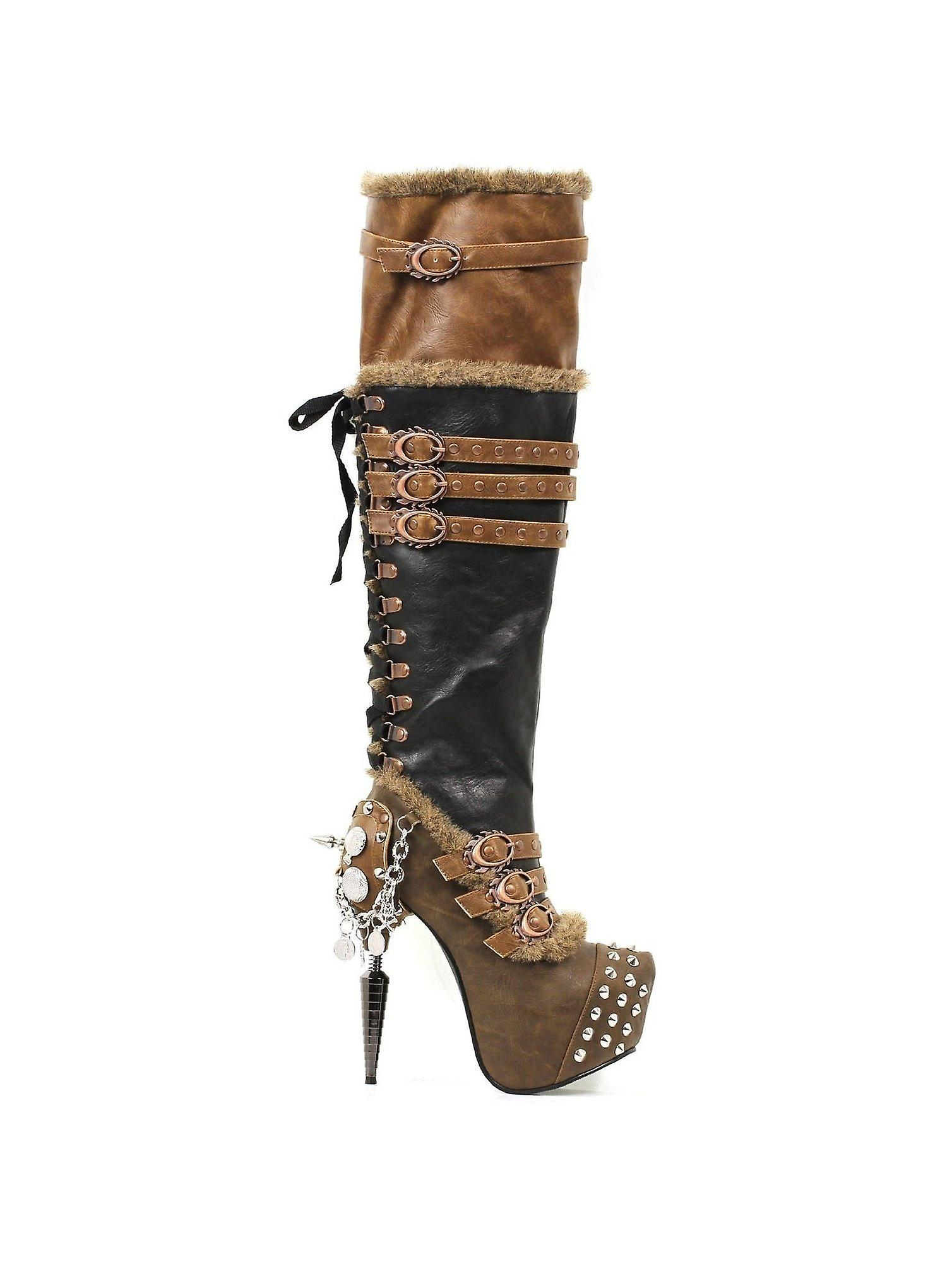 Hades Shoes H-Ventail Thigh High medium sized metal spikes adorn the front