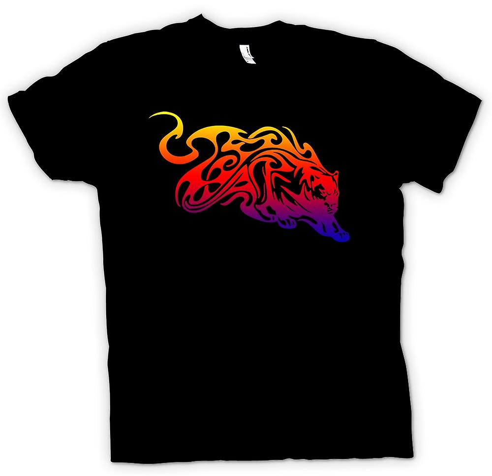 Herr T-shirt-Tribal Tiger med Flames Design