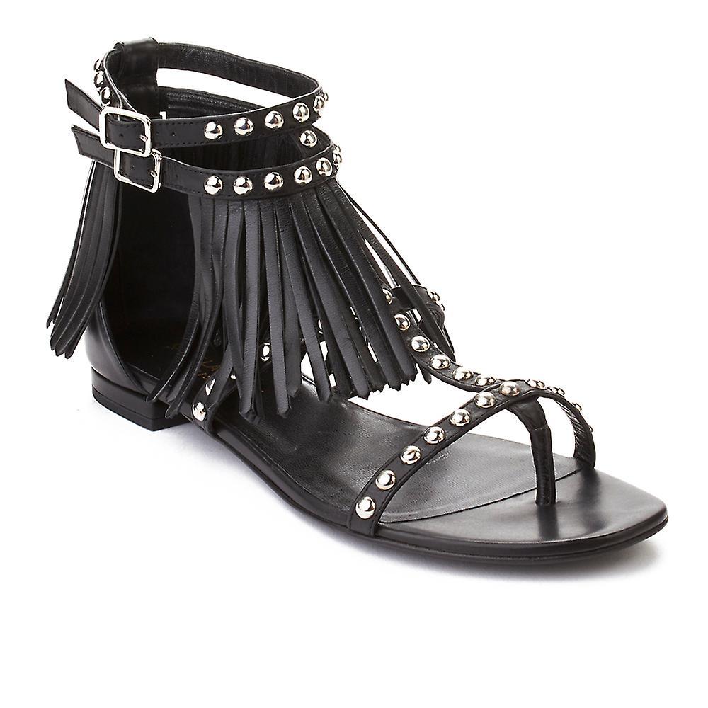 Saint Laurent Women's Fringed Leather Sandals Shoes Black