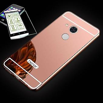 Mirror / Mirror aluminium of bumper 2 piece pink + 0.3 mm H9 tempered glass for Huawei honor 6A