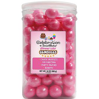 Celebrations By SweetWorks Gumballs 34oz-Shimmer (TM) Bright Pink