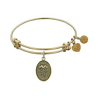 Stipple Finish Brass Caduceus Angelica Bangle Bracelet, 7.25