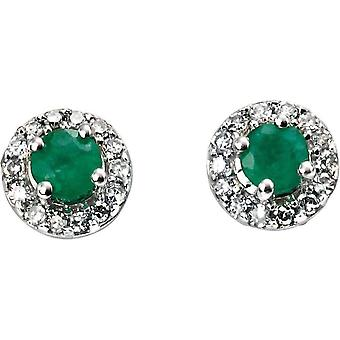 Elements Gold Skylight 9ct White Gold Emerald and Diamond Round Earrings - Green/White Gold