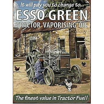 Esso Green Tractor Vaporising Oil Large Metal Sign 400Mm X 300Mm