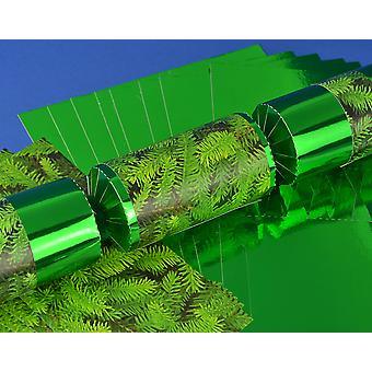 8 Green Foil Christmas Pine Make & Fill Your Own Crackers Kit