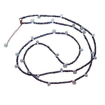 Collier Chaine or automne aigue-marine et Iolite