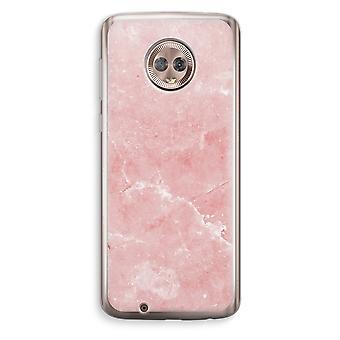 Motorola Moto G6 Transparent Case (Soft) - Pink Marble