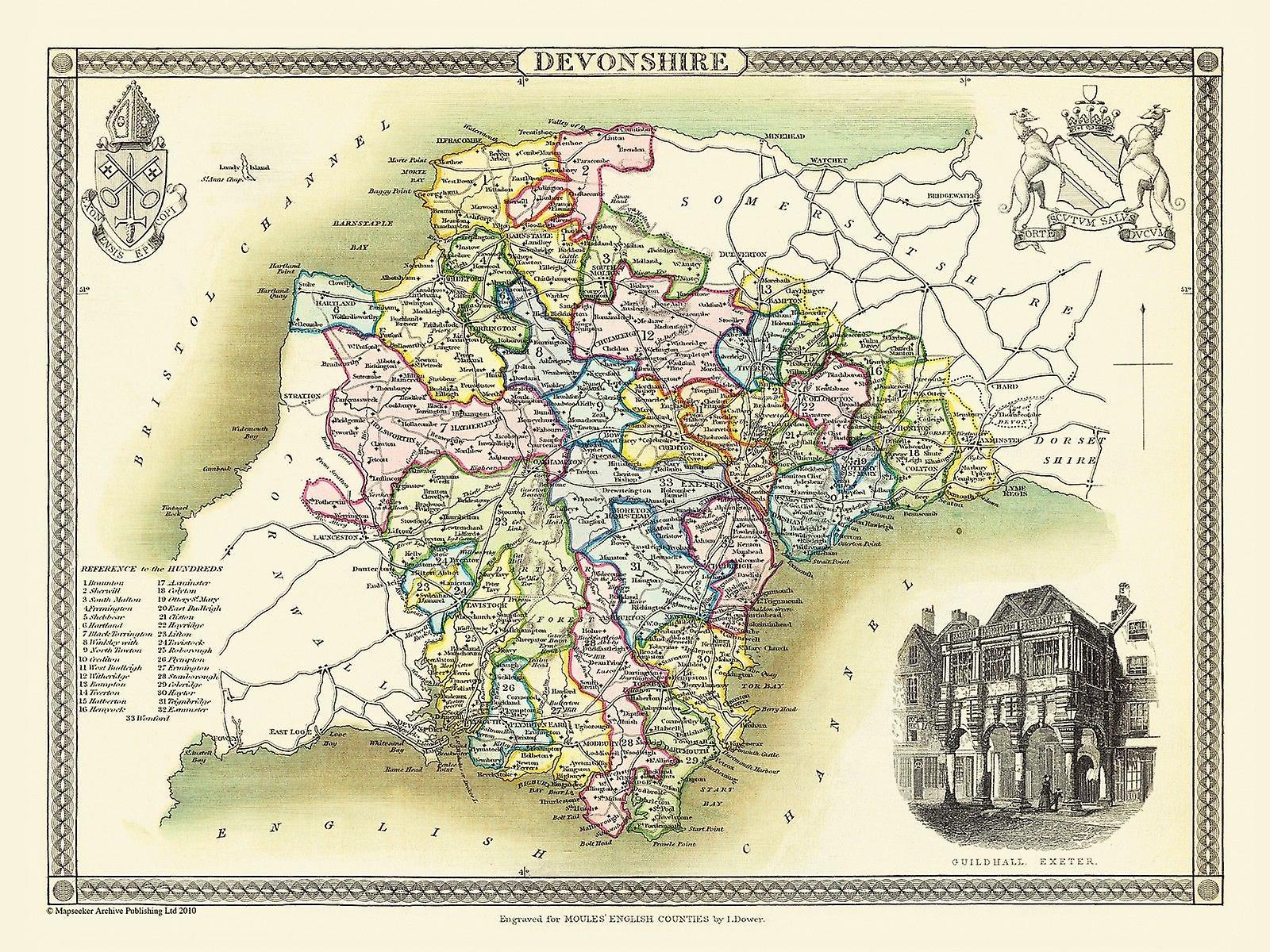 Karta över Devonshire 1836 av Thomas Moule 1000 bit pussel (jhg)