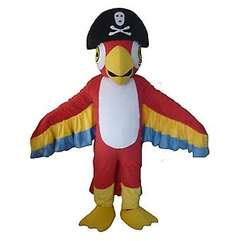 SPOTSOUND tricolor Parrot mascot, with a pirate's hat