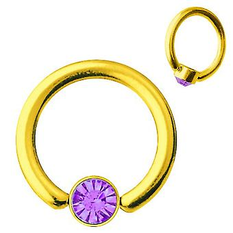 Smiley Piercing BCR Gold Plated Titanium 1,2mm, SWAROVSKI ELEMENTS Purple | 6-10 mm