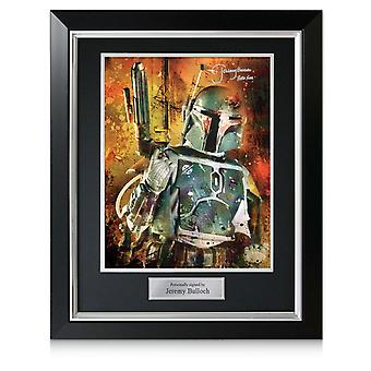 Boba Fett Signed Star Wars Poster: Bounty Hunter In Deluxe Black Frame With Silver Inlay