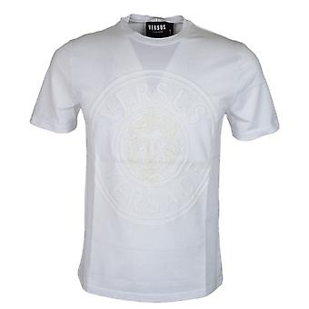 Versace Round Neck Slim Fit Stitched Logo White T-shirt