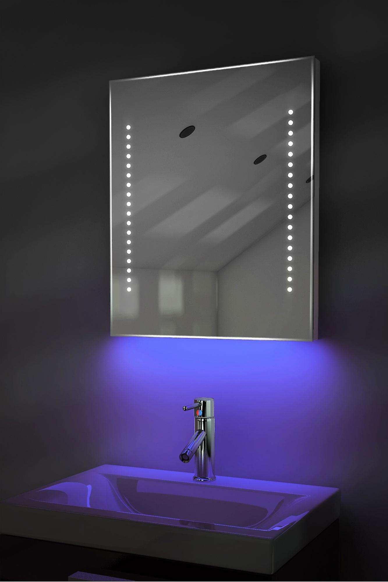 Ambiant ultra-mince LED salle de bain miroir avec Pad dévésiculeur & capteur K55
