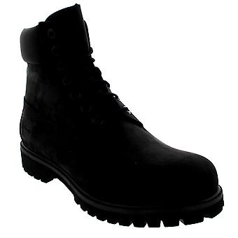 Mens Timberland 6 Inch Premium Black Suede Lace Up Ankle Biker Boots
