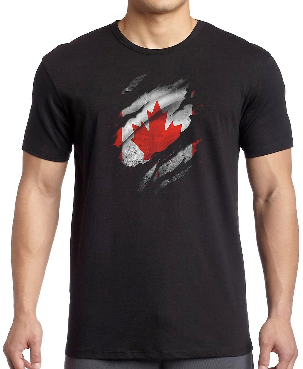 Canadian Grunge Flag Ripped Effect T Shirt