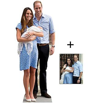 Royal Baby Prince George, William y Kate Middleton recorte de cartón de tamaño natural / Standup - Pack conmemorativo