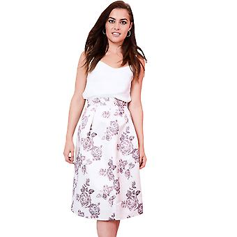 Lovemystyle Pleated Floral Satin Full Midi Skirt With Waistband