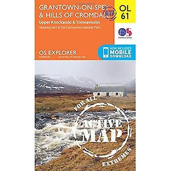 OS Explorer actieve OL61 Grantown-over-Sands & heuvels van Cromdale (OS Explorer kaart actief)