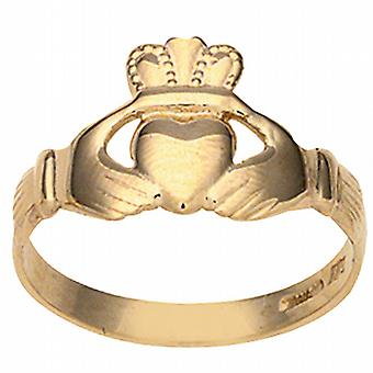 9ct Gold 6x12mm ladies Claddagh Ring Size J