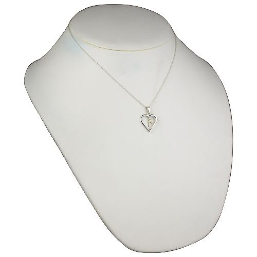 Silver 18x18mm initial P in a heart Pendant with a rolo Chain 18 inches
