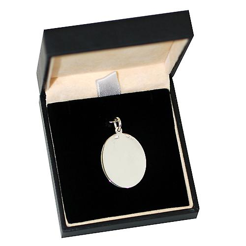Silver 25x20mm oval disc with Medical Symbol