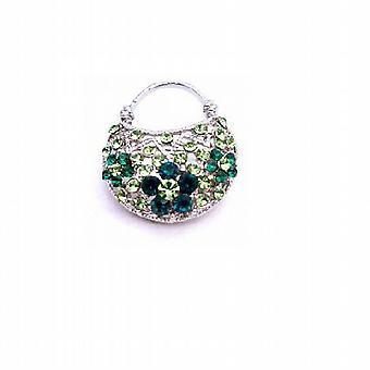 Cute Purse Brooch Prom Peridot Crystals Fully Embedded Pin Brooch