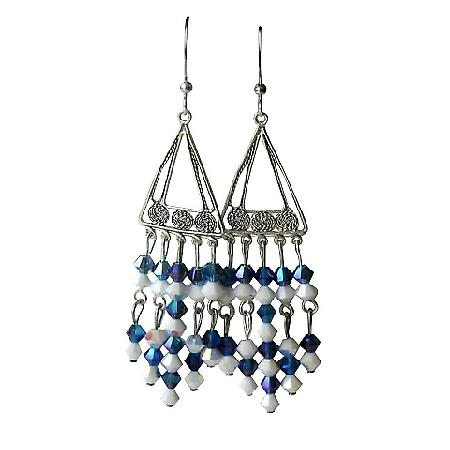 Handcrafted Earrings Swarovski Crystals & Sterling Silver