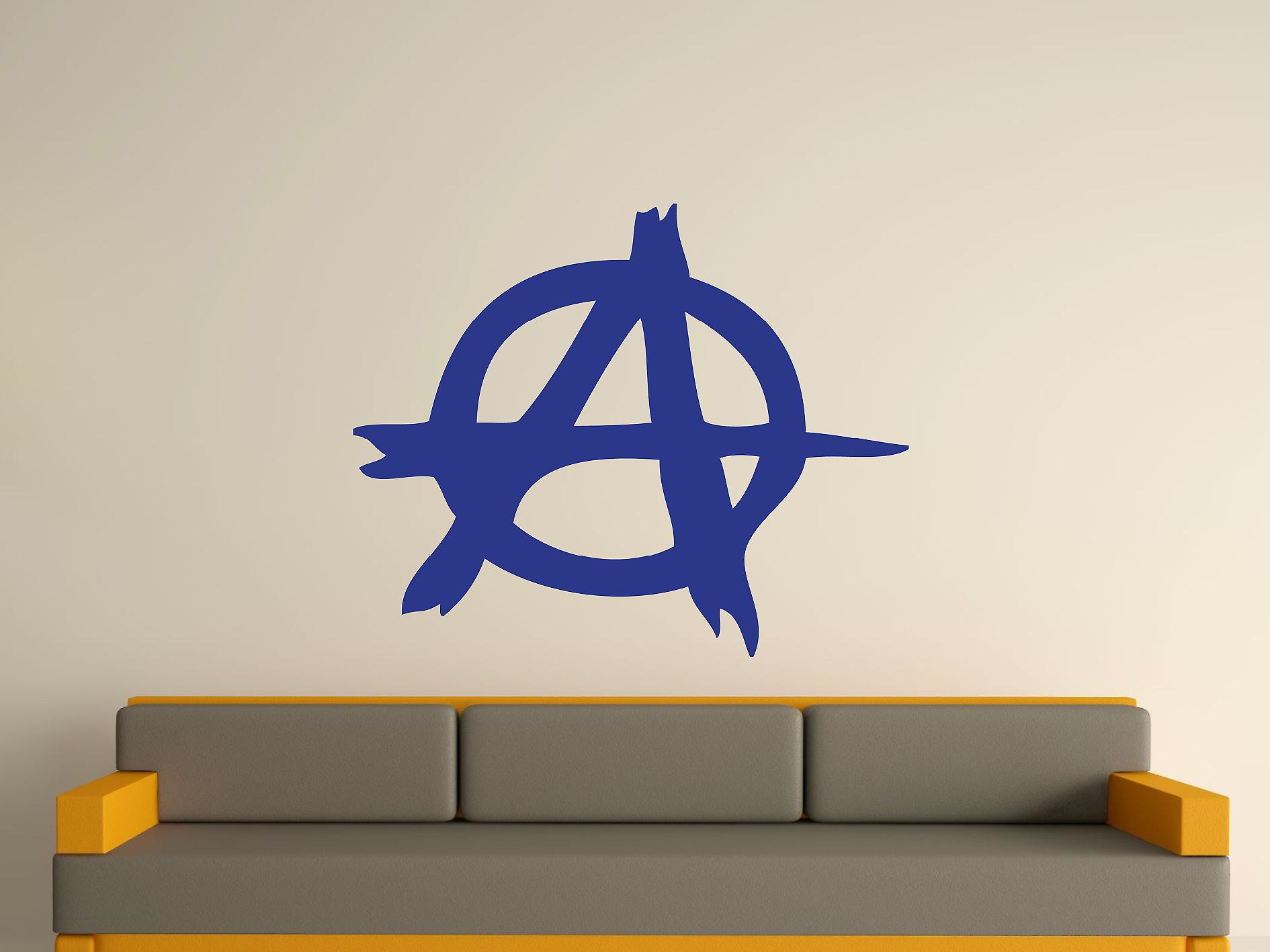 Anarchy symbool Wall Art Sticker - donkerblauw