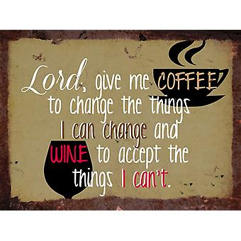 Vintage Metal Wall Sign - Coffee and wine