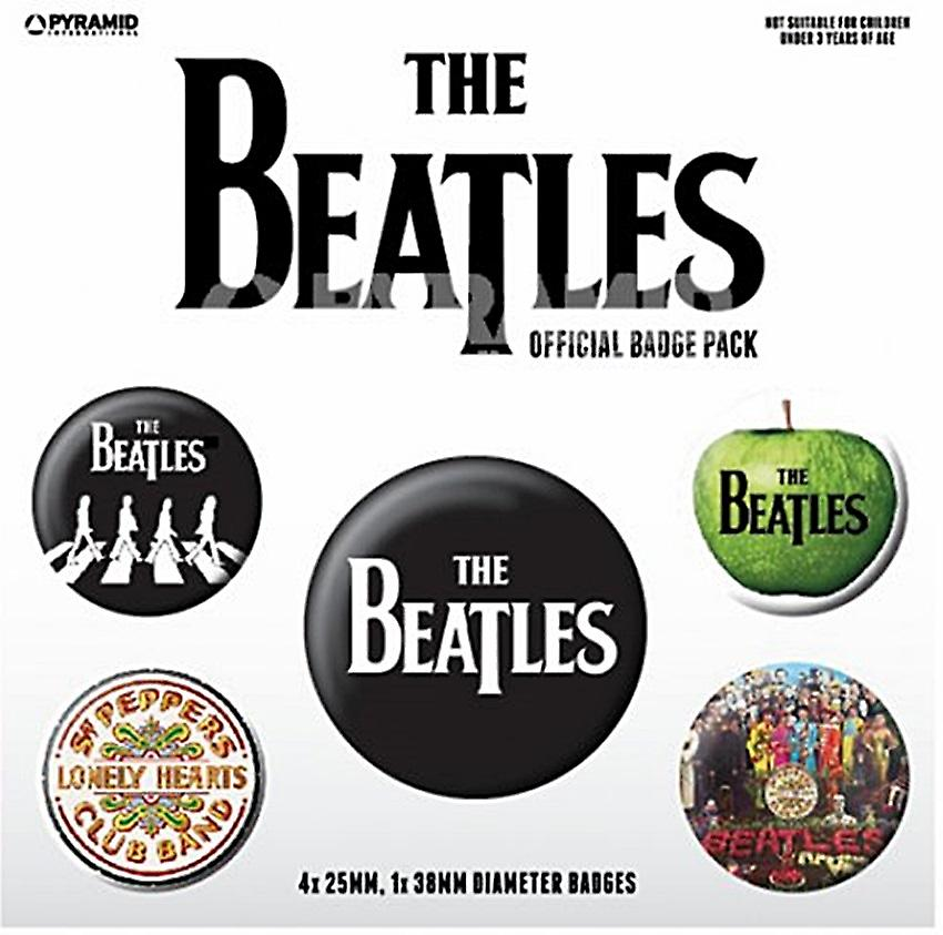 The Beatles (white) 5 round Pin Badges in Pack (py)