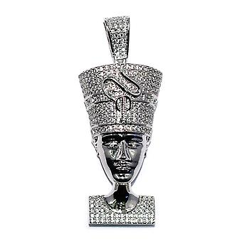 White Gold CZ Queen Nefertiti Pendant Silver