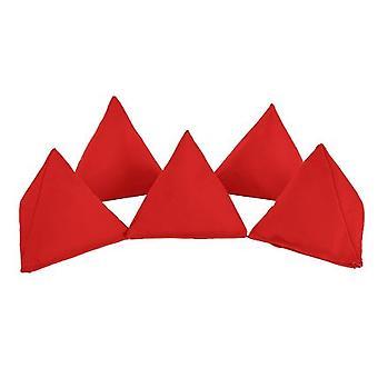 Pack de algodón rojo de 5 bolsas triangulares de frijol para jugar al aire libre