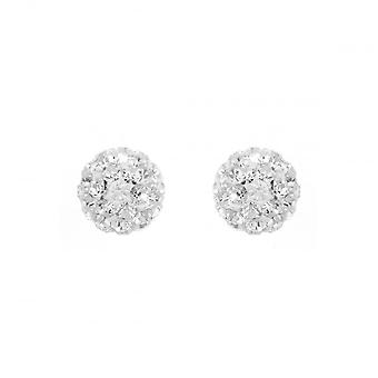 Eternity Sterling Silver 8mm Crystal Ball Stud Earrings