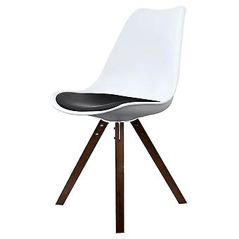Fusion Living Eiffel Inspired White And Black Dining Chair With Square Pyramid Dark Wood Legs