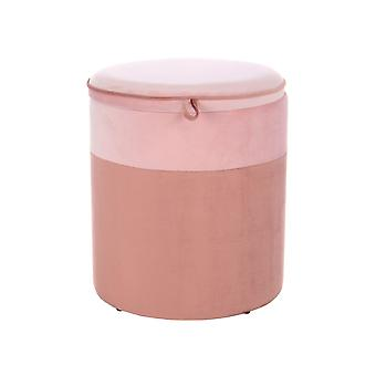 Stool With Storage Space Velvet Pouf Velvet Two-Tone Pastel Pink Old Pink 35Cm