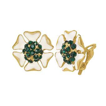 Esmalte blanco delicioso de la colección eterna y montante de cristal Esmeralda Clip en pendientes