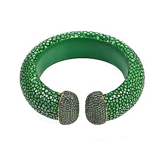 925 Sterling Silver Cuff Stingray Jade Green Gold with CZ Statement Bangle