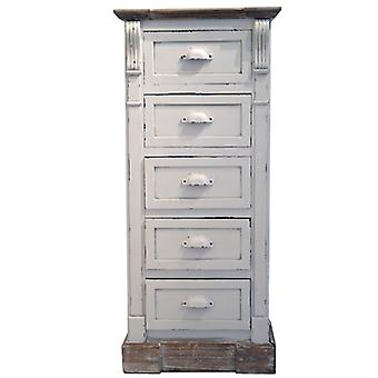 White Shabby Chic Vintage French Style Tall Chest 5 Drawers Bedroom Furniture