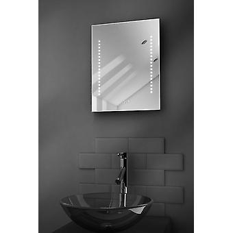 Diamond Shaver Bathroom Mirror With Clock, Demister & Sensor k189