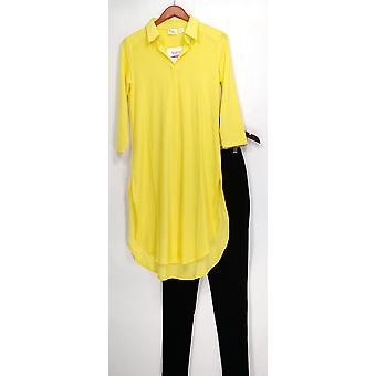 Kvinder med kontrol sæt tunika & pintuck leggings gul A273193
